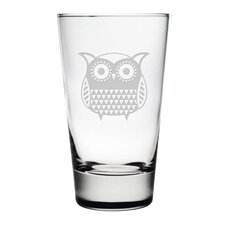 Folk Art Owl Hiball Glass (Set of 4)