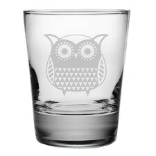 Folk Art Owl Double Old Fashioned Glass (Set of 4)