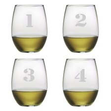 4 Piece Counting Stemless Wine Glass Set