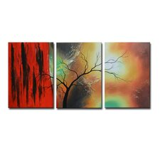 Radiance Carlina 3 Piece Original Painting on Canvas Set (Set of 3)