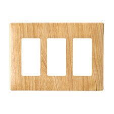 "6.72"" Three Gang Decorator Screwless Wall Plate in Metal maple"