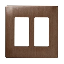 Two Gang Decorator Screwless Wall Plate in Brushed copper