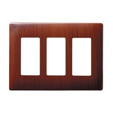Three Gang Decorator Screwless Wall Plate in Metal Mahogany