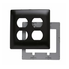 Two Gang Two Outlet Openings Screwless Wall Plate in Brown