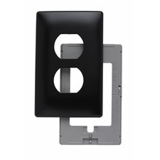 Single Gang Outlet Opening Screwless Wall Plate in Black