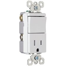 TradeMaster 15A 120/125V Decorator One Single Pole Switch and One Single Outlet in Brown