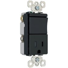TradeMaster 120/125V Decorator One Three Way Switch and Single Outlet in Black
