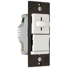 TradeMaster 600W Decorator Slide Dimmer Three Way Preset Lighted in White