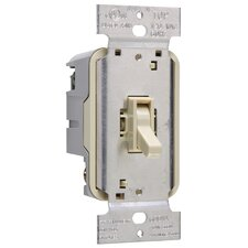 TradeMaster 600W Magnetic Low Voltage Single Pole Toggle Dimmer with Housing in Light Almond