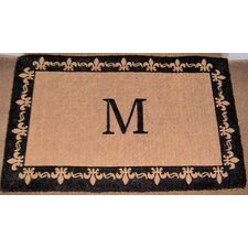 Imperial Fleur De Lis Border Monogram Golden Doormat