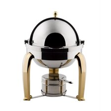 """Save on Additional Items""-Odin Mini Chafer with Brass Plated Legs and Porcelain Insert"