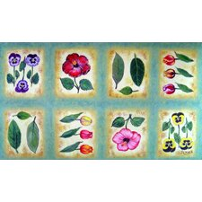 <strong>Custom Printed Rugs</strong> Botanical Flower Tiles Doormat