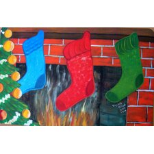 <strong>Custom Printed Rugs</strong> Seasonal Holiday Christmas Stockings Doormat