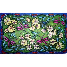 <strong>Custom Printed Rugs</strong> Flowers and Dragonflies Doormat