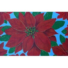 Seasonal Holiday Poinsettia Doormat