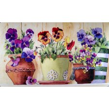 Potted Pansies Doormat