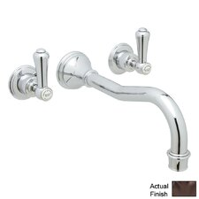 Perrin and Rowe Double Handle Wall Mount Tub Filler Faucet with Lever Handle