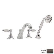 Country Double Handle Bath Roman Tub Faucet with Lever Handle