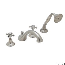 Country Double Handle Bath Roman Tub Faucet with Cross Handle and Single Function Hand Shower