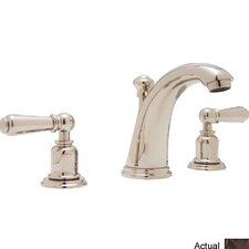 Perrin and Rowe Double Handle Widespread Bathroom Faucet with Capped Lever Handle and Pop-Up Drain
