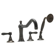 Country Double Handle Bath Roman Tub Faucet with Single Function Hand Shower and Lever Handle