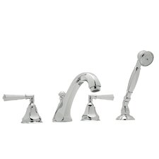Palladian Double Handle Roman Tub Faucet with Single Function Hand Shower and Lever Handle