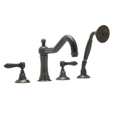 Rohl A1404XM Country Bath Roman Tub Faucet with Single Function Hand Shower and Metal Cross Handles