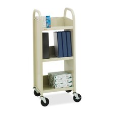 "<strong>Bretford Manufacturing Inc</strong> Book/Equipment Truck, 3 Slant Shelves, 17""x13""x43"", Putty/Blue"