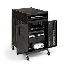 Mobile Multimedia Presentation Cart with Locking Cabinet