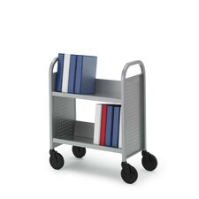 Contemporary Single-Sided Booktruck with Two Slanted Shelves