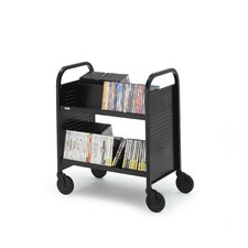 Contemporary Double-Sided Booktruck with Four Slanted Shelves