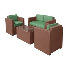 La Fleur Sling 4 Piece Seating Group with Cushion