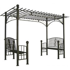Toscana Double Bench Arbor with Pergola Style Top
