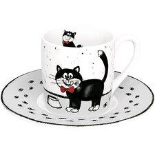 "2-tlg. Espresso-Tassen Set ""Kater Carlo"" aus Porzellan"