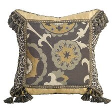 Espresso Synthetic Pillow with Cord, Braid and Tassel Fringe