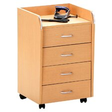 Pronto Rolling File Cabinet in Beech