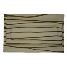 Narrow Rectangle Platter Brown Stripe