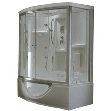 <strong>Steam Planet Corp</strong> Personal Sliding Door Glass Steam Shower with Whirlpool Bathtub