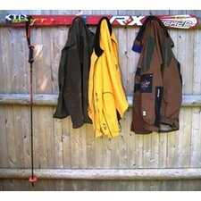 Snow Ski Coat Rack with Wooden Pegs