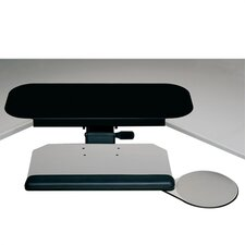 Diagonal Keyboard Tray and Mouse Platform with Single Adjustable Arm