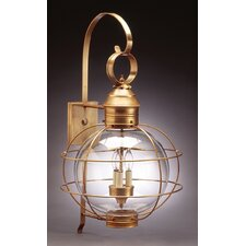 Onion 3 Candelabra Sockets Large Caged Round Wall Lantern