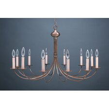 <strong>Northeast Lantern</strong> Chandelier 12 Light Candelabra Sockets J-Arms Hanging Chandelier