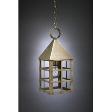 York Medium Base Socket Pyramid Top H-Bars 1 Light Hanging Lantern