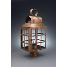 "Lynn 1 Light 8"" Chimney Culvert Top H-Bars Post Lantern"