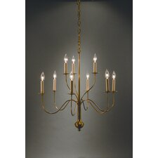 <strong>Northeast Lantern</strong> Chandelier 9 Light Candelabra Sockets Curved Arms Hanging Chandelier
