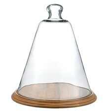 Glass Cone Cloche with Wood Base Statue