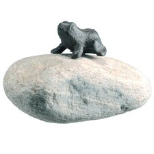 Cast Iron Frog on Rock Statue