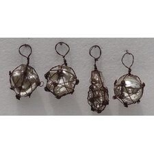 4 Piece Glass and Metal Mini Ornament Set