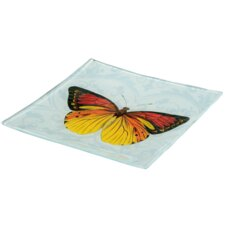 Glass Butterfly Decorative Plate