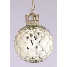 <strong>Barreveld International</strong> Glass Honeycomb Ball Ornament with Crown Cap